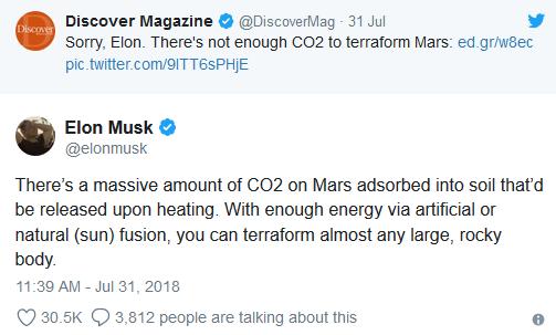 马斯克声称科学家对火星二氧化碳数量理解有误