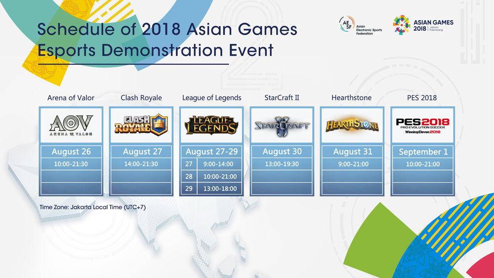 雅加达亚运会电竞项目赛程公布 十几场比赛轮着来