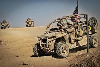 美军MV22配合小型任务车进行全地形演练