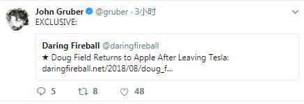 """特斯拉Doug Field重返苹果 加入""""泰坦计划"""""""