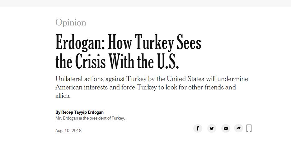埃尔多安在美媒发文:对土耳其的单边行动只能迫使我们寻找新朋友、新盟友