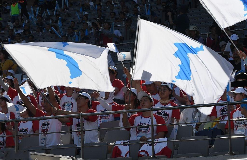 朝韩举行足球友谊赛 球迷齐举朝鲜半岛旗帜助威