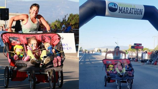 厉害!美国一母亲手推三孩子跑半马破世界纪录