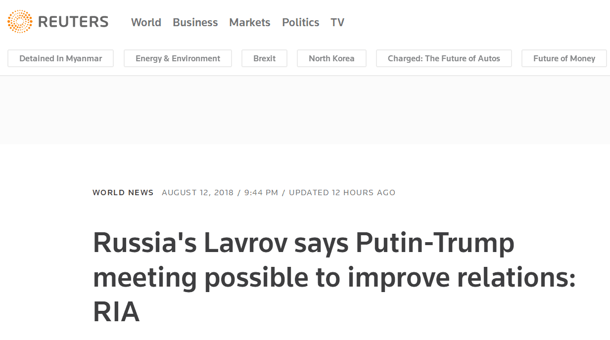 俄外长:普京和特朗普可能举行会晤,以改善美俄关系