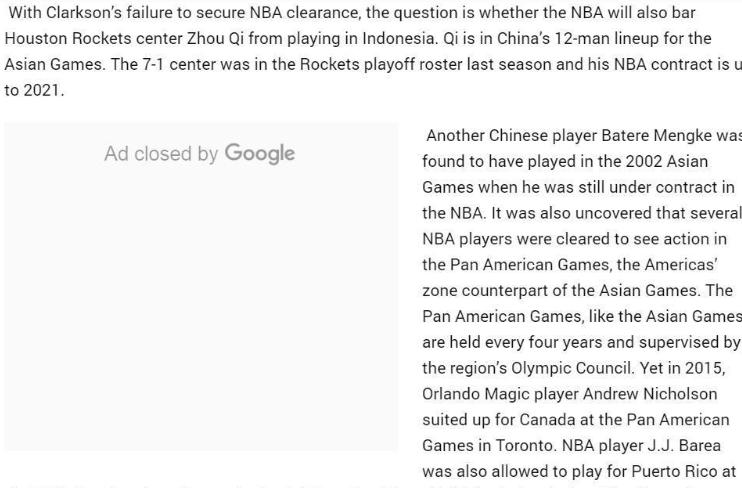 菲律宾质疑周琦参加亚运资格 篮协主席:NBA正调查