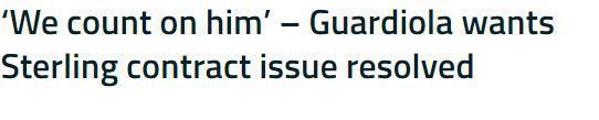 瓜迪奥拉:非常希望斯特林续约 我们都指望着他呢