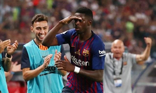 西超杯-梅西助攻登贝莱世界波 巴萨2-1逆转夺冠