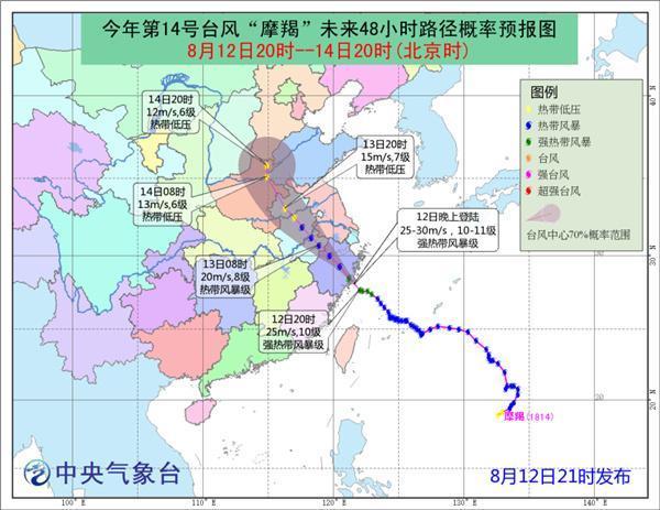 """台风""""摩羯""""登陆浙江 浙皖豫鲁等6省市有暴雨"""
