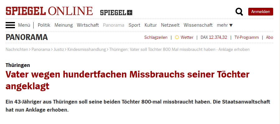 真是禽兽!德男子被控性虐待其两个女儿约800次