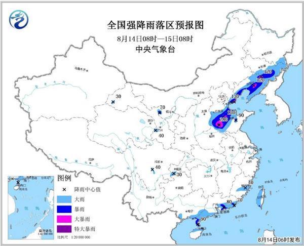 暴雨黄色预警:河南河北山东辽宁等地有大暴雨