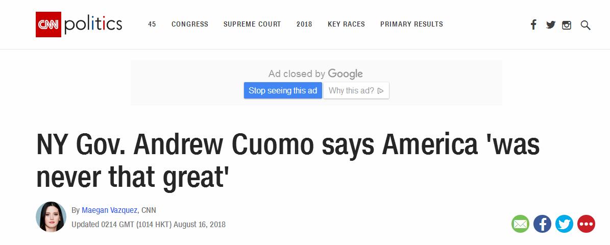 纽约州长公开批特朗普口号:美国不会更加伟大 ,而且从未那样伟大