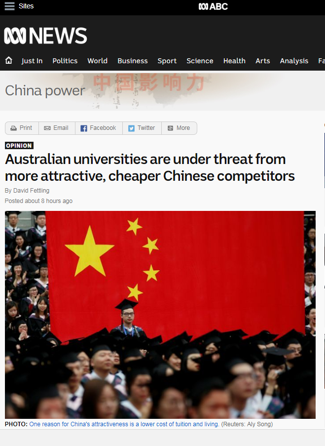 """澳媒担忧重要产业被中国""""抢饭碗""""——他们有些优势澳大利亚拼不过"""