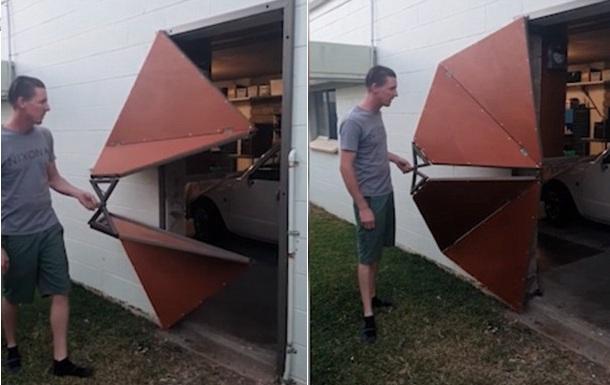 奇思妙想!澳男子为自家车库安装滑动折叠门