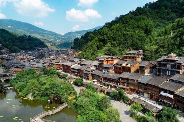航拍传统村落贵州肇兴侗寨