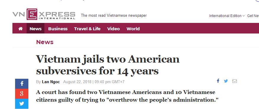越南判处两名美籍越南人14年监禁 罪名:推翻人民政府