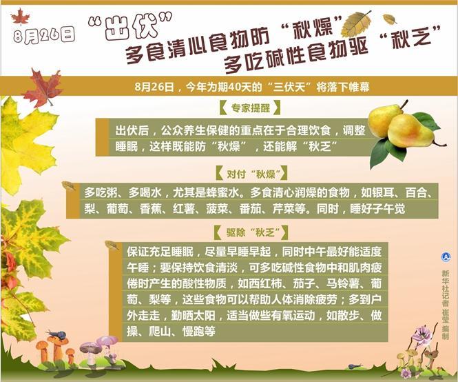 """26日""""出伏"""":多食清心食物防""""秋燥"""",多吃碱性食物驱""""秋乏"""""""