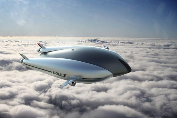 未来警车救护车上天了!英公司推出零排放无人驾驶全能飞艇