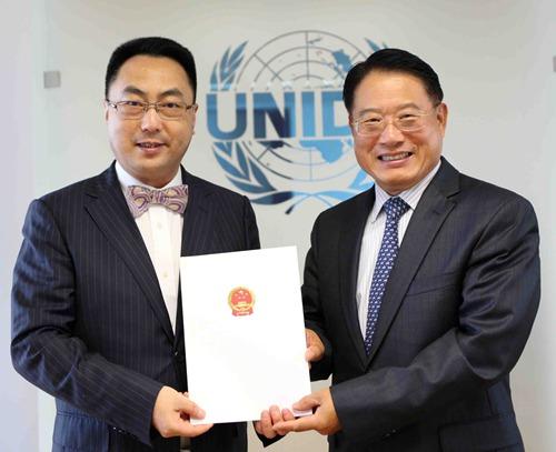 王群大使向联合国工发组织总干事李勇递交全权证书