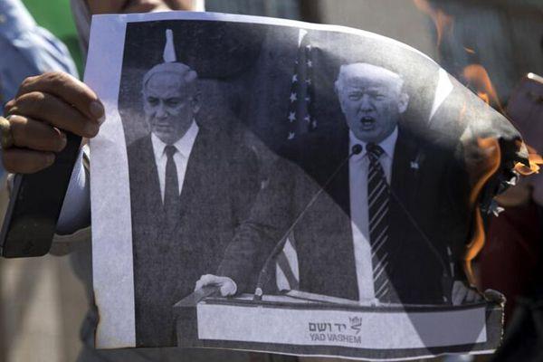 """巴勒斯坦人抗议美国""""断援"""" 焚烧特朗普画像"""
