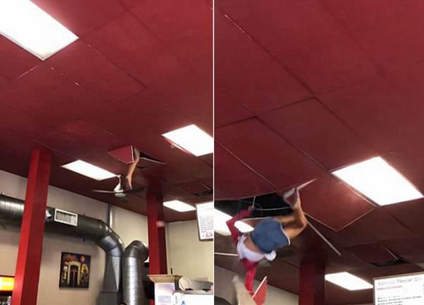 惊险一刻!美女子疑吸毒后进入餐厅从天花板上坠落
