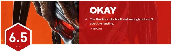 《铁血战士》IGN 6.5分:开始表现很好 但是烂尾了