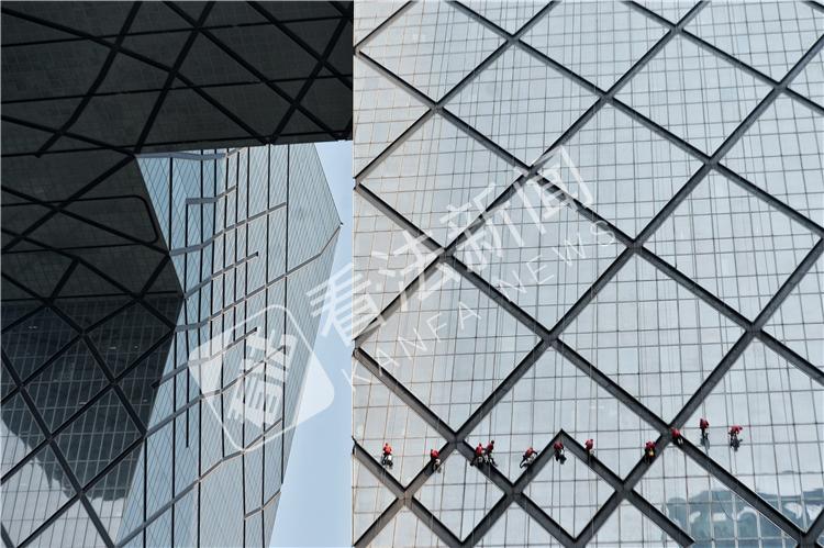 """11""""蜘蛛人""""清洗央视大楼"""