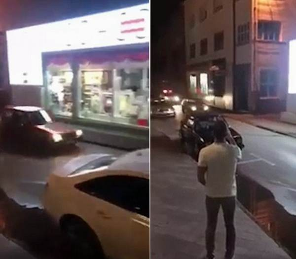 波黑青年开车飞下楼梯躲追捕 上演现实版好莱坞特技