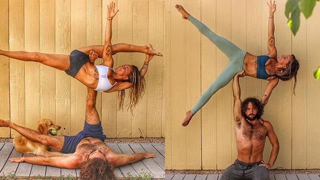美情侣晒照秀高难度瑜伽姿势走红网络