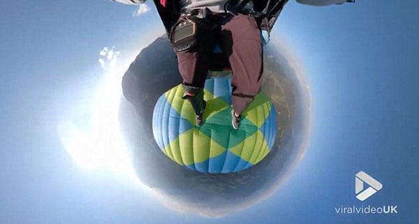 滑翔伞飞行员高空表演旋转和倒转惊人特技