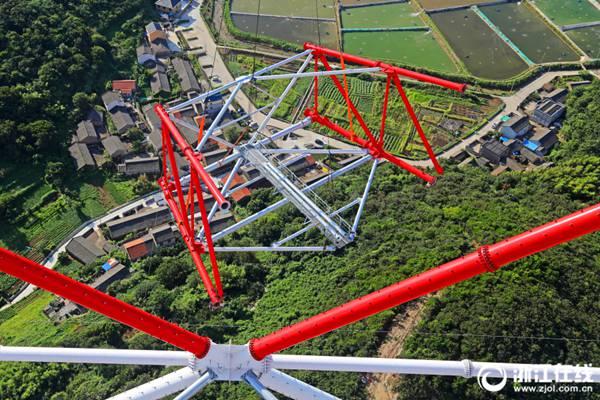 舟山:世界第一高塔进入塔头组装