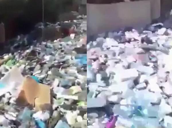 """黎巴嫩首都街道惊现恐怖""""垃圾河""""引民众愤怒"""