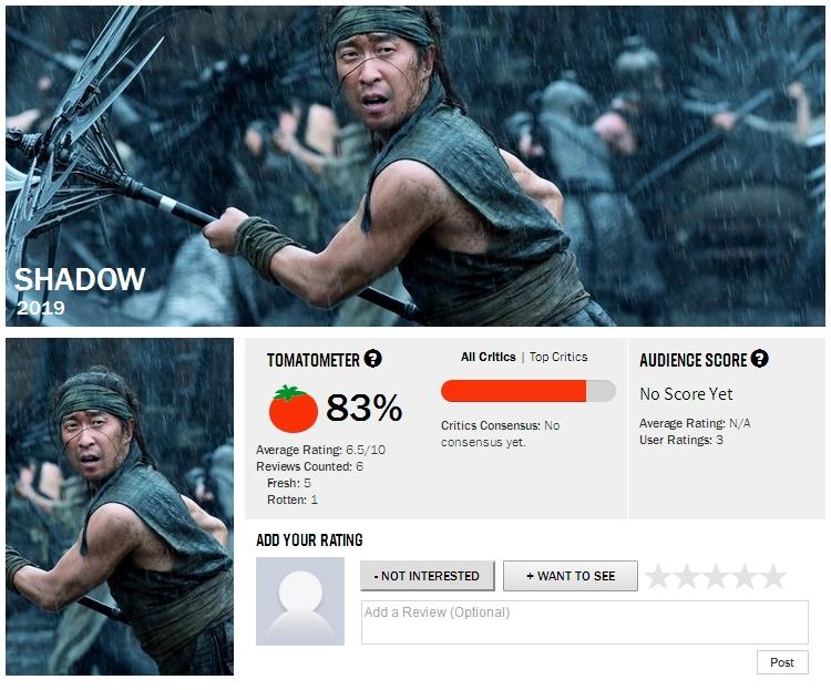 张艺谋新片《影》获外媒好评 烂番茄新鲜度83%