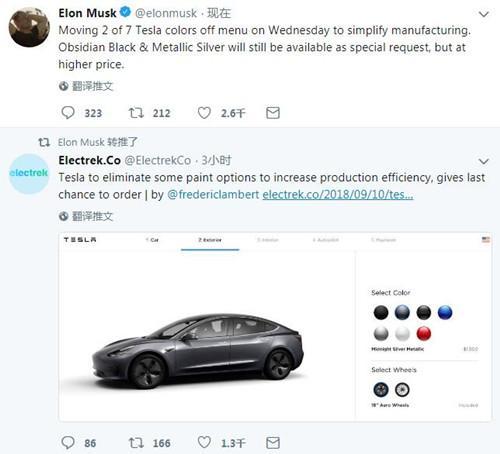 马斯克:特斯拉汽车可选配色将减少2种 简化生产