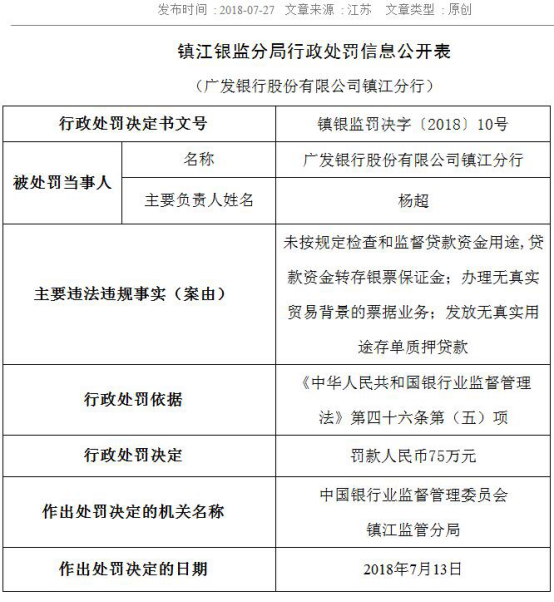 7月27日,广发银行苏州分行:贷款资金挪作银票保证金等3宗违法