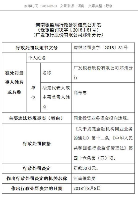 9月4日,广发银行郑州分行:贷款违法流入房地产