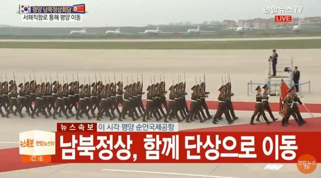 文在寅与金正恩共同检阅朝鲜仪仗队(图)