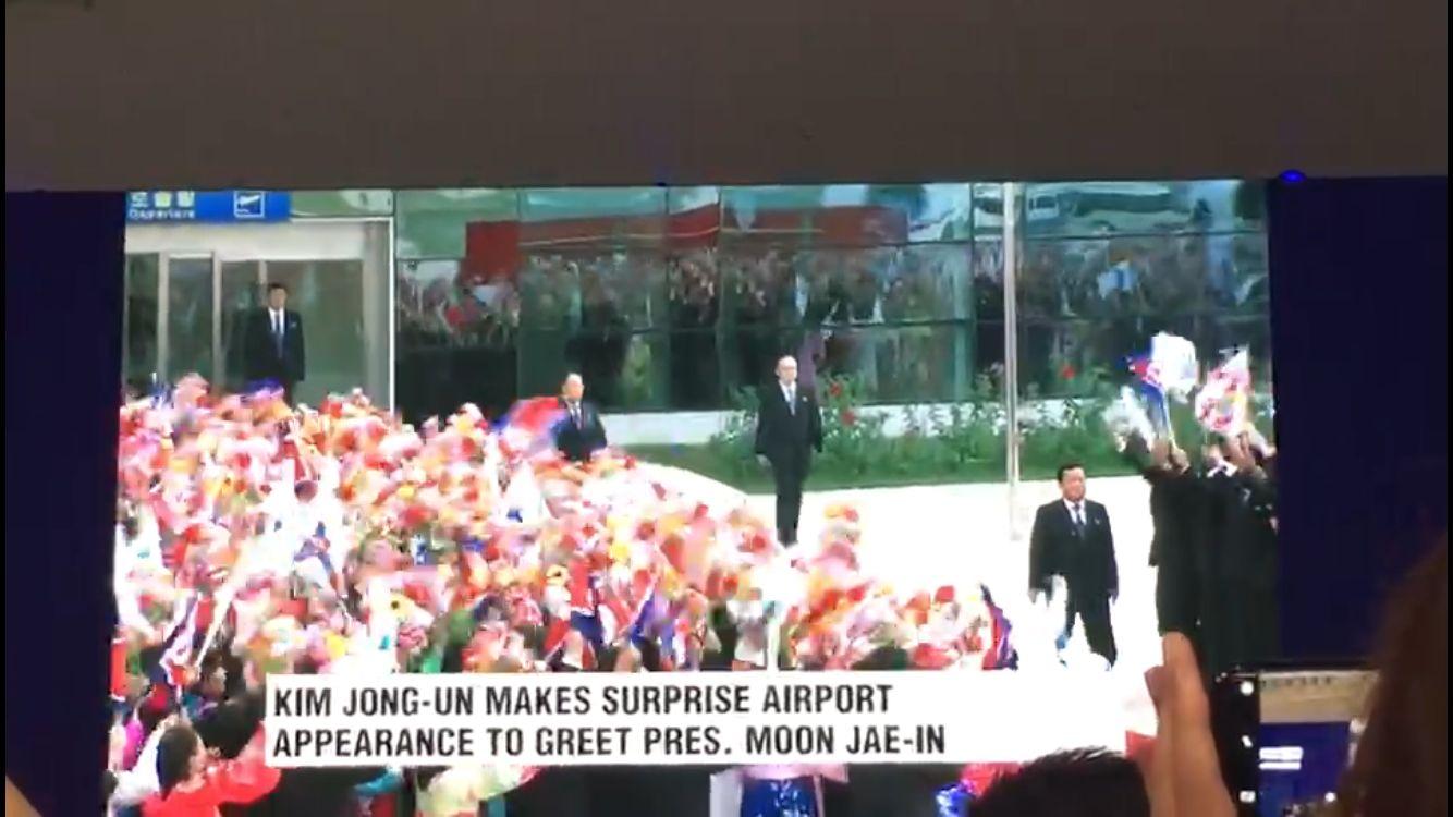 韩媒:朝鲜民众首次举半岛旗欢迎文在寅 金与正现场指挥