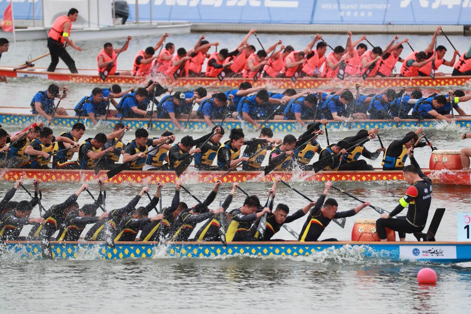 潍坊滨海:2018中国龙舟公开赛(山东潍坊站)开赛
