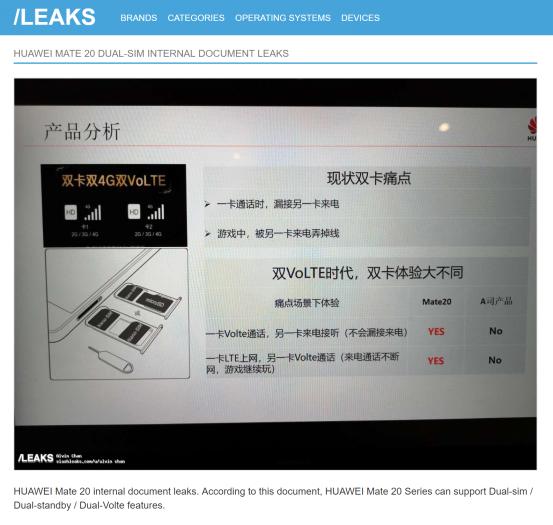 """外媒泄密华为Mate20双卡双通""""黑科技"""" 苹果双卡双待遭误伤"""