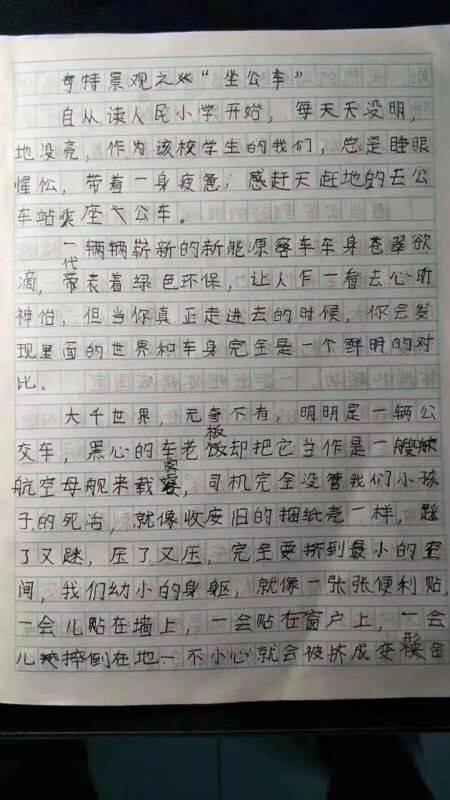 小学生作文吐槽公交拥挤人成纸壳 交通局回信亮了