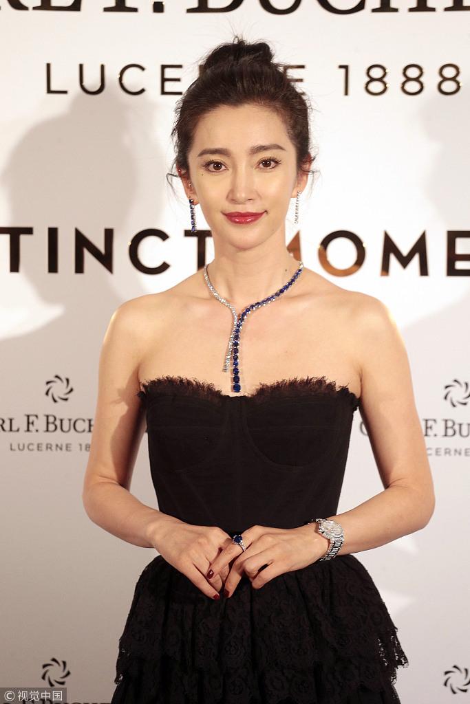 李冰冰香港出席晚宴抹胸礼服高贵迷人