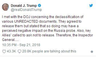 特朗普突然转向:暂停解密涉俄调查资料 盟友也挺我