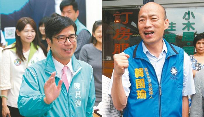 高雄选情最新民调:陈其迈支持度34% 韩国瑜32%紧追在后