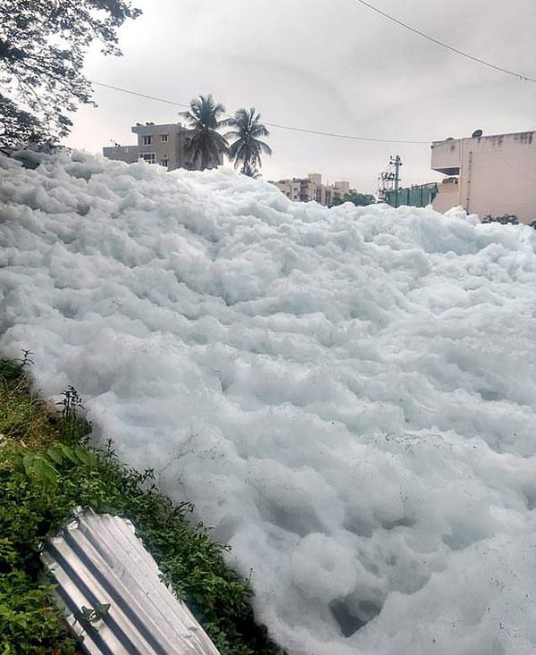 印湖面涌出巨大有毒泡沫山 居民竟乐此不疲拍照