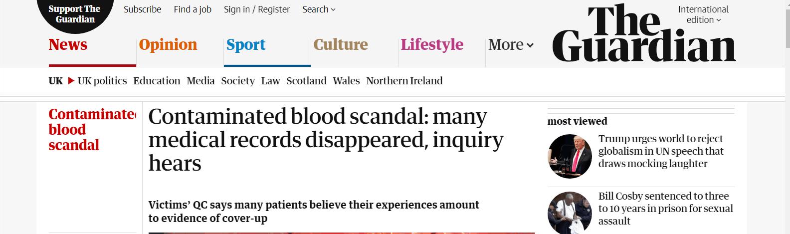 数千英国人30多年前接受输血后 艾滋病、肝炎、医疗记录没了……
