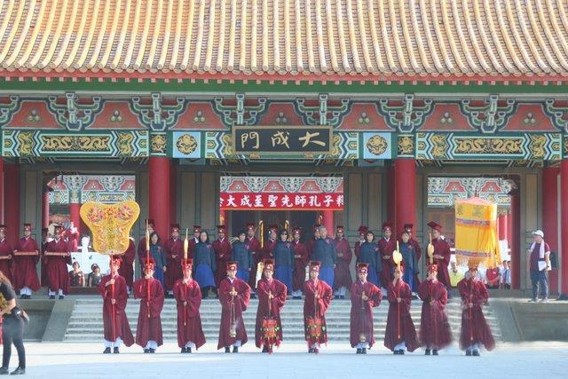 台湾古礼祭孔显中华文化 民进党籍正副市长缺席