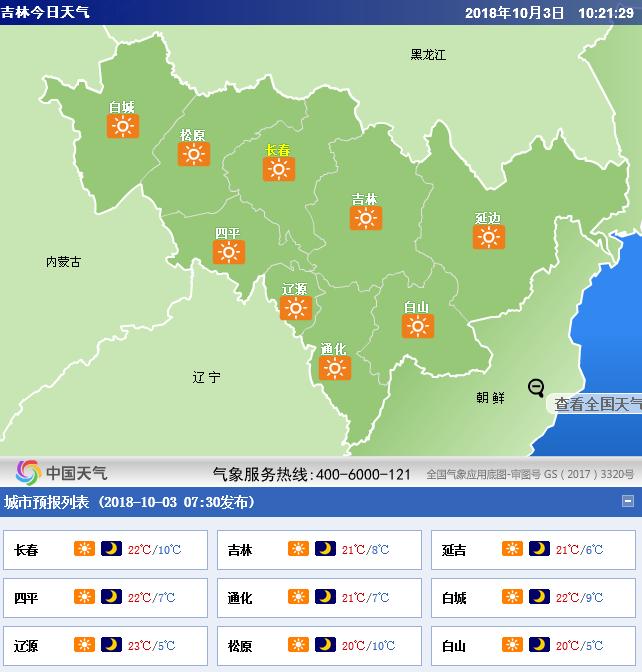 未来三天吉林全省天气预报