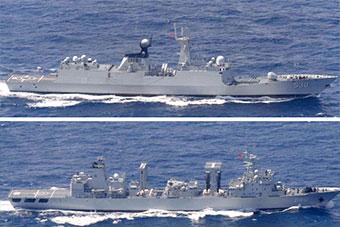 日称中国3艘军舰穿越宫古岛周围进入东海