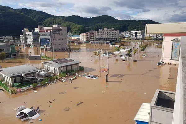 """台风""""康妮""""裹挟风雨登陆韩国 城市遭淹没"""