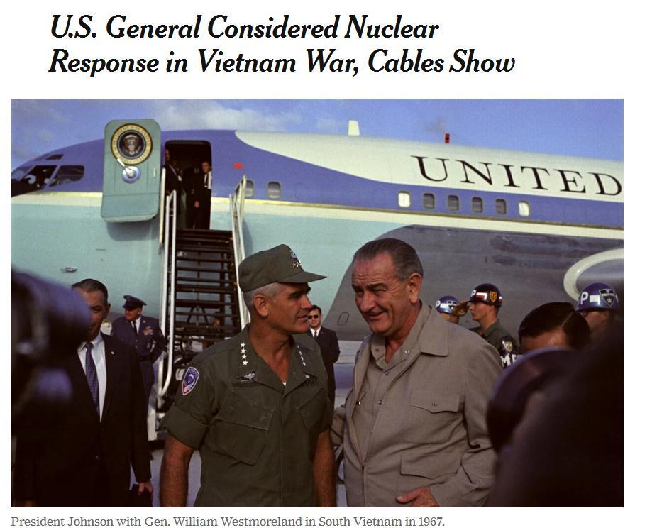 美军被曝曾想在越南战争期间使用核武器 被时任总统否决